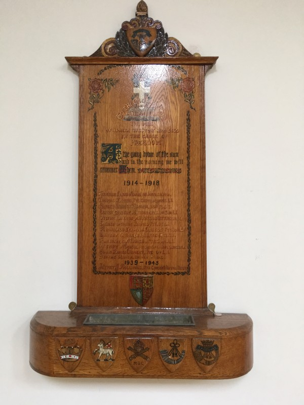 J: Memorial in North Weston Village Hall photo